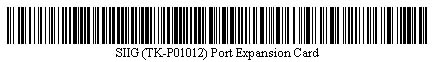 Pictured is a barcode for SIIG (TK-P01012) Port Expansion Card.