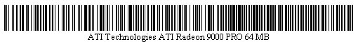 Pictured is a barcode for ATI Technologies ATI Radeon 9000 PRO 64 MB.