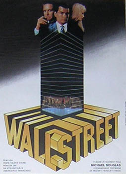 Pictured is a Yugoslavian mini poster for the 1987 Oliver Stone film Wall Street starring Charlie Sheen and Michael Douglas.