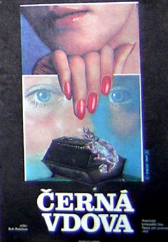 Pictured is a Czech mini poster for the 1987 Bob Rafelson film Black Widow starring Debra Winger.