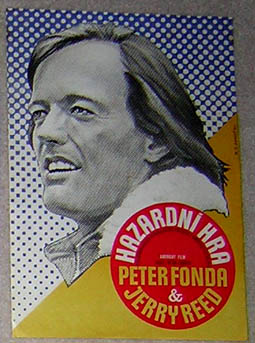 Pictured is a Czech mini-poster for the 1978 Peter Carter film High-Ballin' starring Peter Fonda and Jerry Reed.