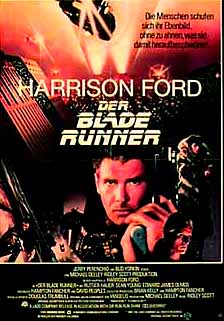 Pictured is a German promotional poster for the 1982 Ridley Scott film Blade Runner, starring Harrison Ford.