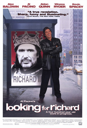 Pictured is a US promotional poster forthe 1996 Al Pacino film Looking for Richard starring Al Pacino.