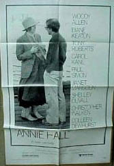 Pictured is a US promotional poster for the 1977 Woody Allen Film Annie Hall starring Woody Allen as Alvy Singer and Diane Keaton as Annie Hall.