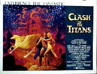 Pictured is a US half-sheet promotional poster for the 1981 Desmond Davis film Clash of the Titans starring Harry Hamlin as Perseus.