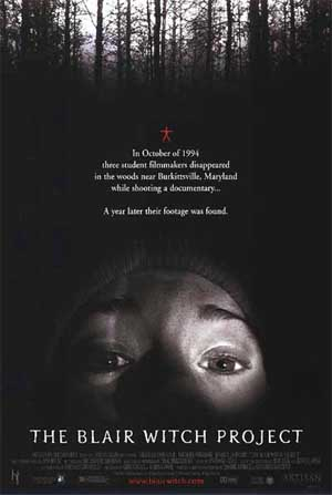 Pictured is a US promotional poster for the 1999 Daniel Myrick and Eduardo Sanchez film The Blair Witch Project, starring Heather Donahue.