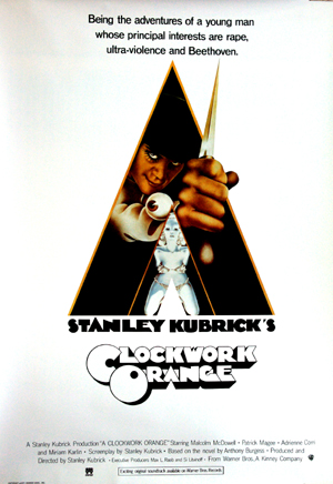 Pictured is a reprint of a promotional poster for the 1971 Stanley Kubrick film A Clockwork Orange starring Malcolm McDowell.
