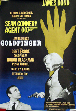 Pictured is a Swedish one-sheet promotional poster for the 1964 Guy Hamilton film Goldfinger starring Sean Connery.