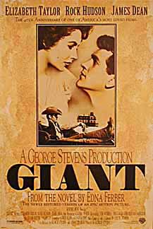 Pictured is a US promotional poster for the 1996 director's cut rerelease of the 1956 George Stevens film giant starring Elizabeth Taylor, Rock Hudson and James Dean.