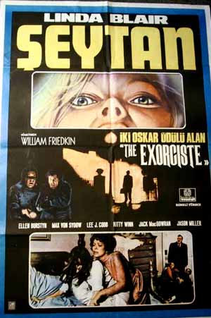 Pictued is a Turkish promotional poster for the 1975 William Friedkin film The Exorcist starring Linda Blair and Ellen Burstyn.