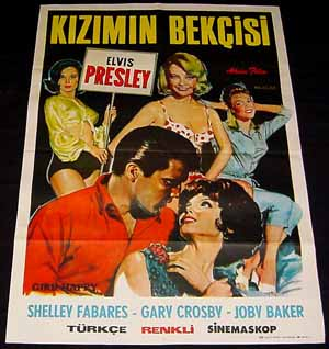 Pictured is a Turkish promotional poster for the 1965 Boris Sagal film Girl Happy starring Elvis Presley.